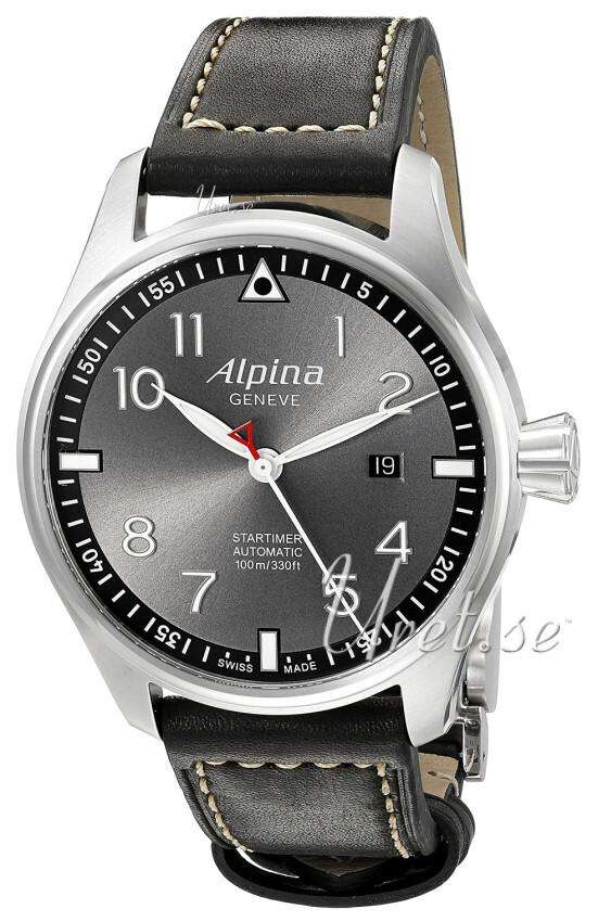Alpina Startimer Herrklocka AL-525GB4S6 Grå/Läder Ø44 mm - Alpina