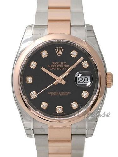 Rolex Datejust Gold/Steel Herrklocka 116201-0083 Svart/18 karat roséguld - Rolex
