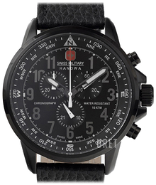 Swiss Military Sport Svart/Läder Ø46 mm 06-4297.13.007
