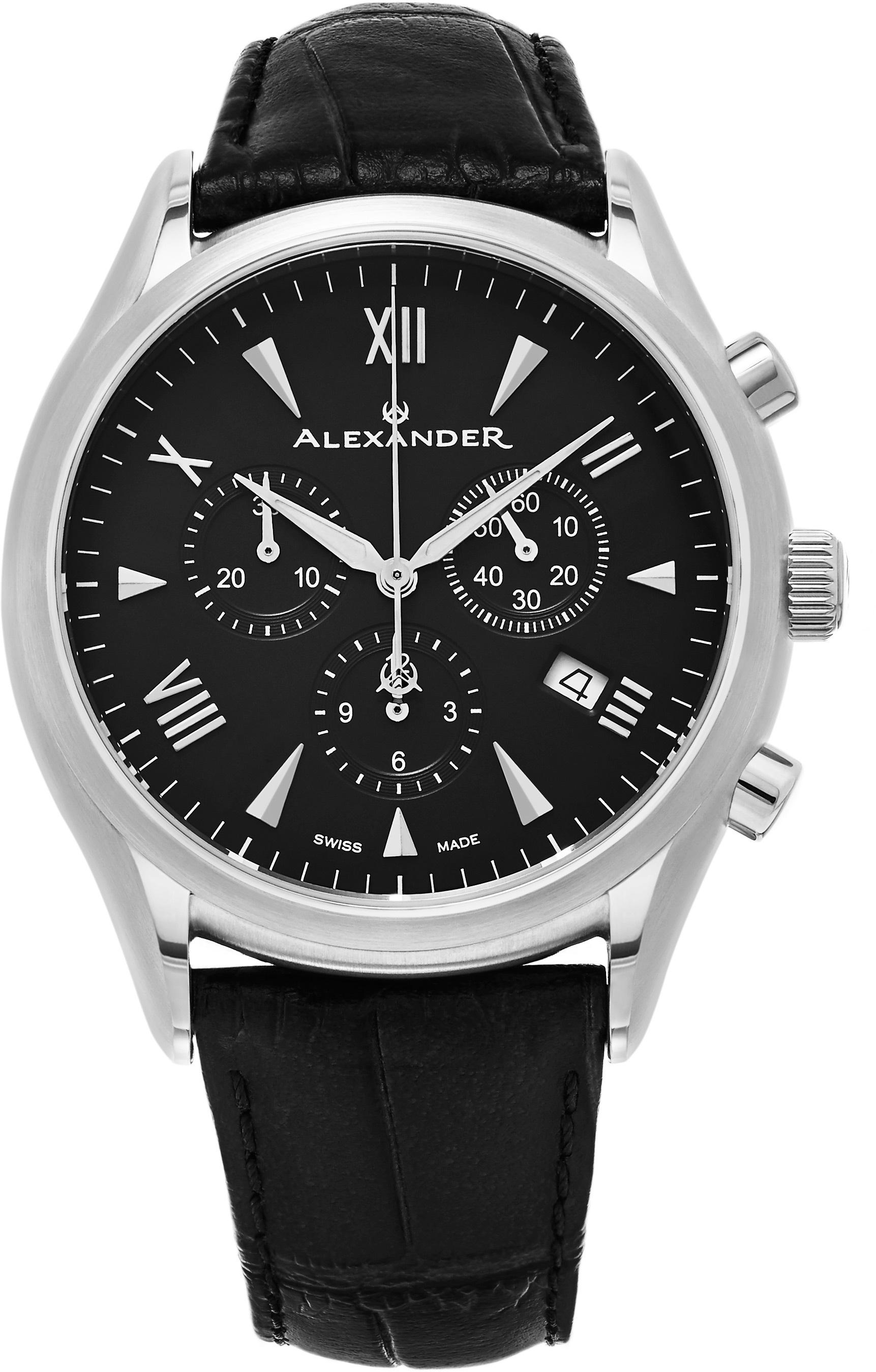 Alexander Heroic Herrklocka A021-01 Svart/Läder Ø42 mm - Alexander