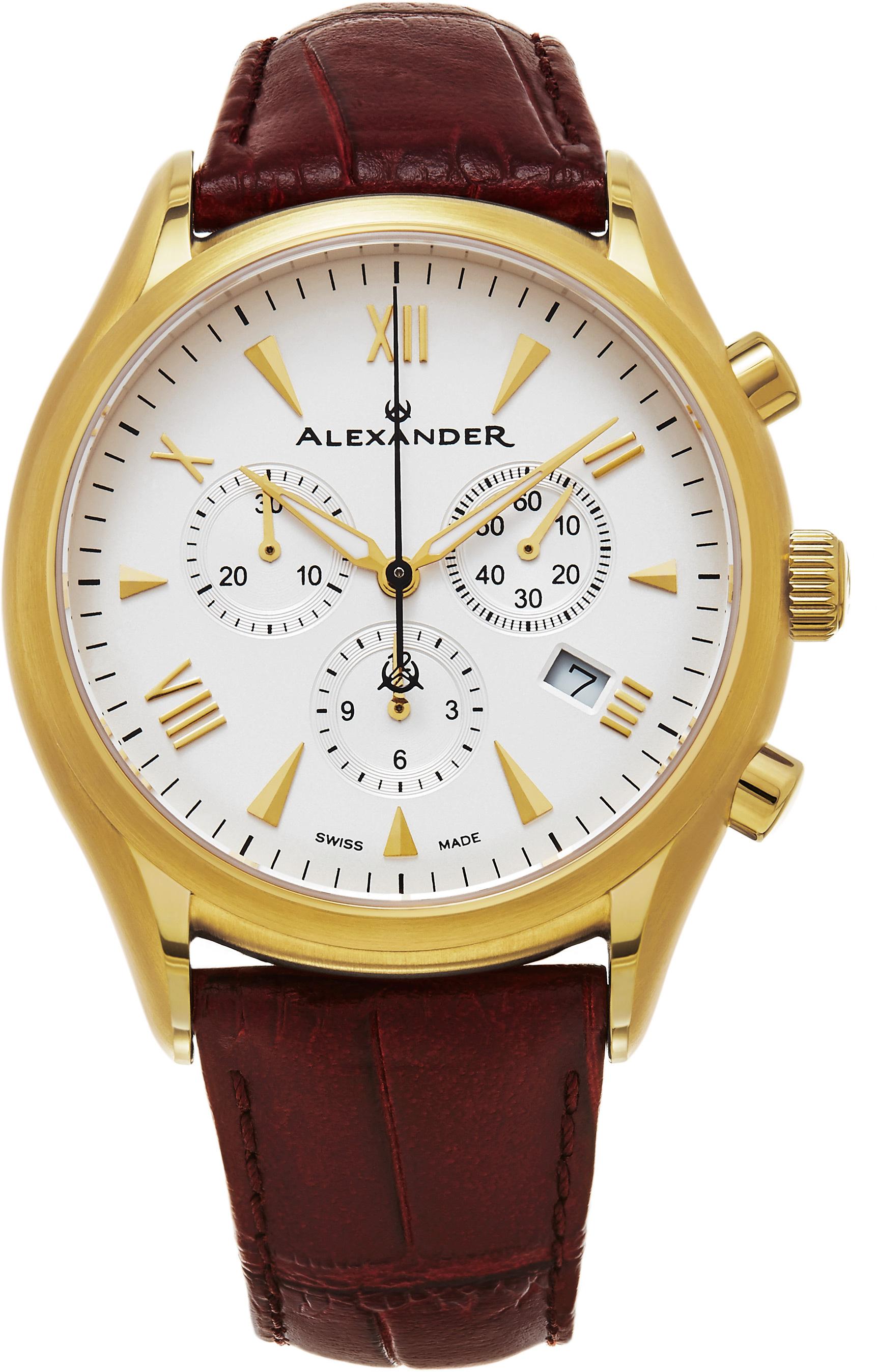 Alexander Heroic Herrklocka A021-05 Vit/Läder Ø42 mm - Alexander
