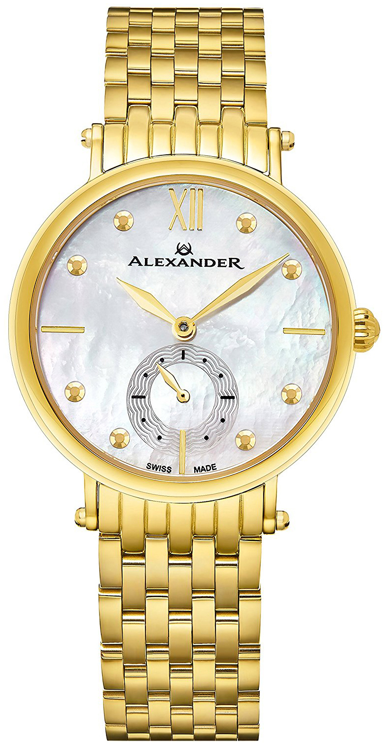 Alexander Monarch Damklocka A201B-02 Silverfärgad/Gulguldtonat stål Ø34 - Alexander