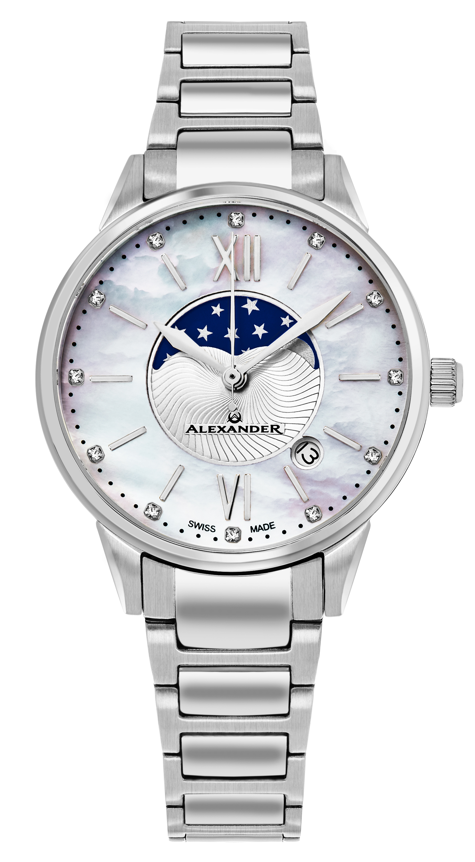 Alexander Monarch Damklocka AD204B-01 Vit/Stål Ø35 mm - Alexander