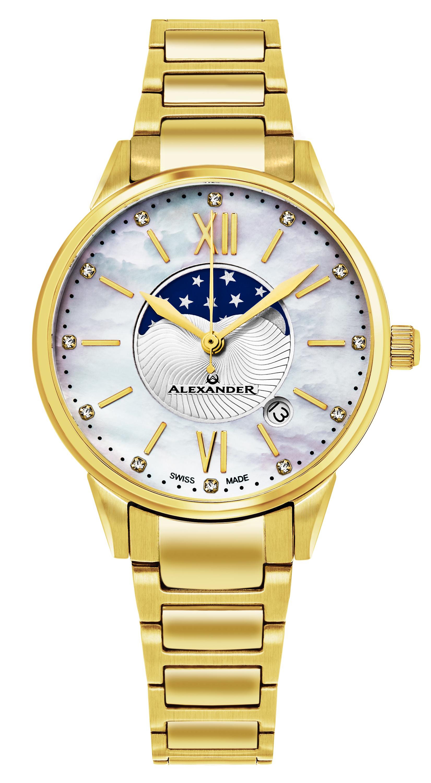 Alexander Monarch Damklocka AD204B-05 Vit/Gulguldtonat stål Ø35 mm - Alexander