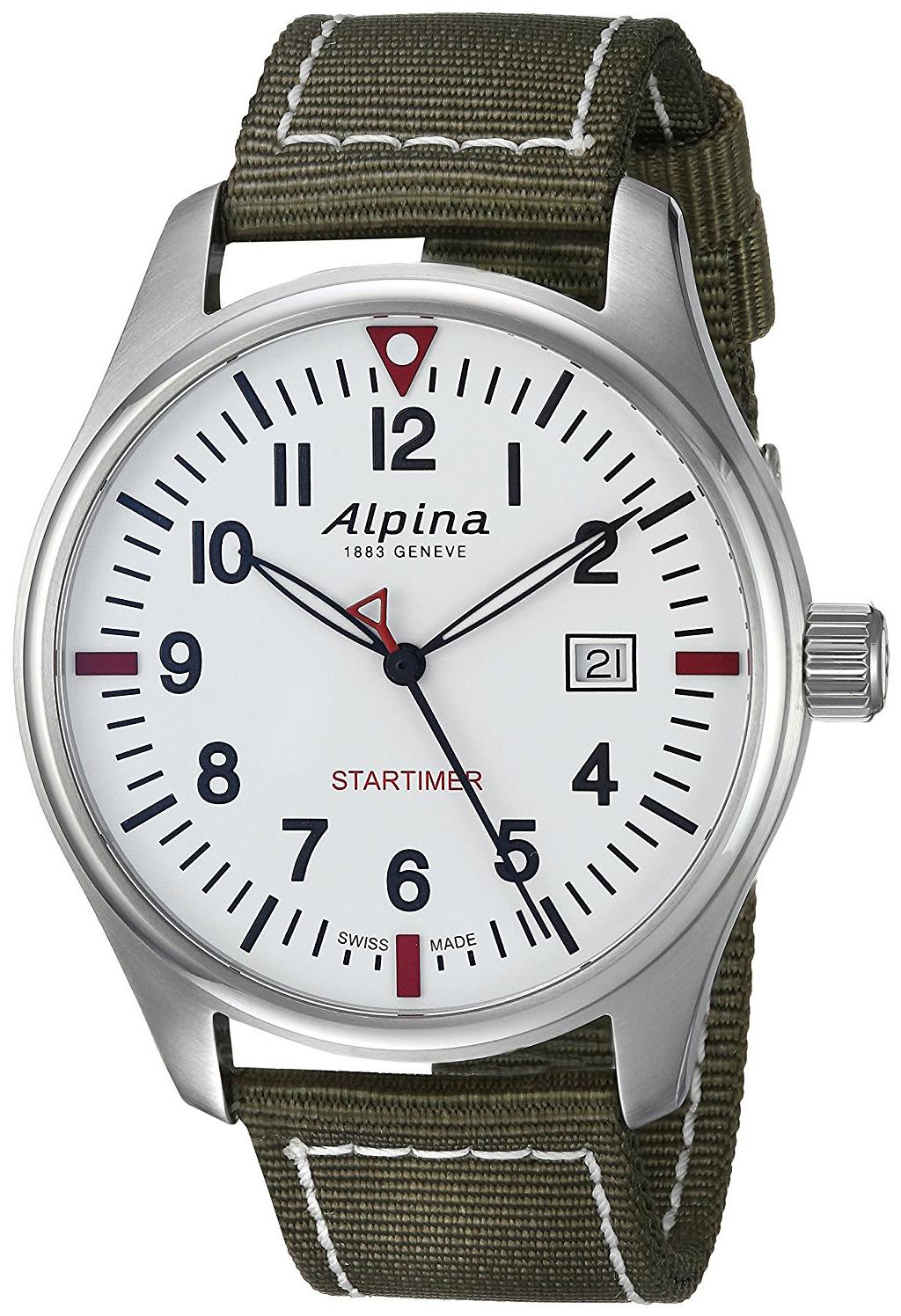 Alpina Startimer Herrklocka AL-240S4S6 Vit/Textil Ø42 mm - Alpina