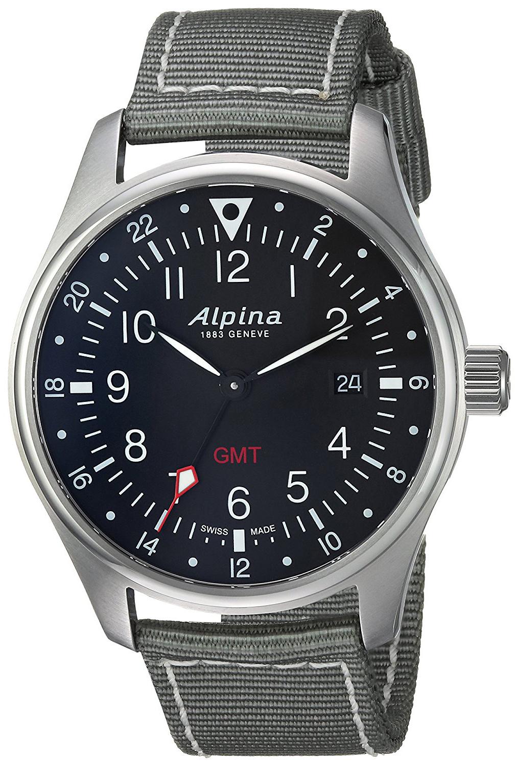 Alpina Startimer Herrklocka AL-247B4S6 Svart/Textil Ø42 mm - Alpina