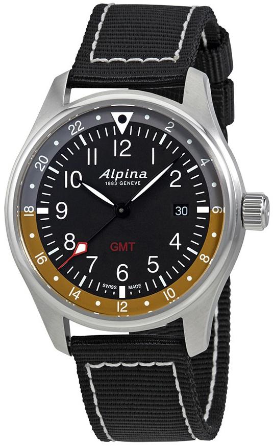 Alpina Startimer Herrklocka AL-247BBG4S6 Svart/Textil Ø42 mm - Alpina