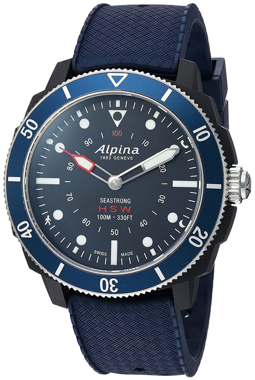 Alpina Horological Smartwatch Herrklocka AL-282LNN4V6 Blå/Gummi Ø44 mm - Alpina