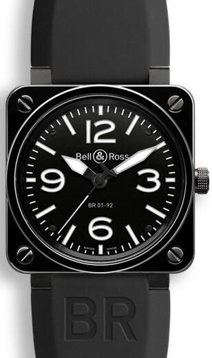 Bell & Ross BR 01-92 Herrklocka BR0192-BL-CER-SRB Svart/Gummi Ø46 mm - Bell & Ross