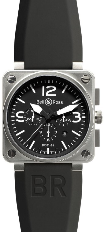 Bell & Ross BR 01-94 Herrklocka BR0194-BL-ST Svart/Gummi Ø46 mm - Bell & Ross