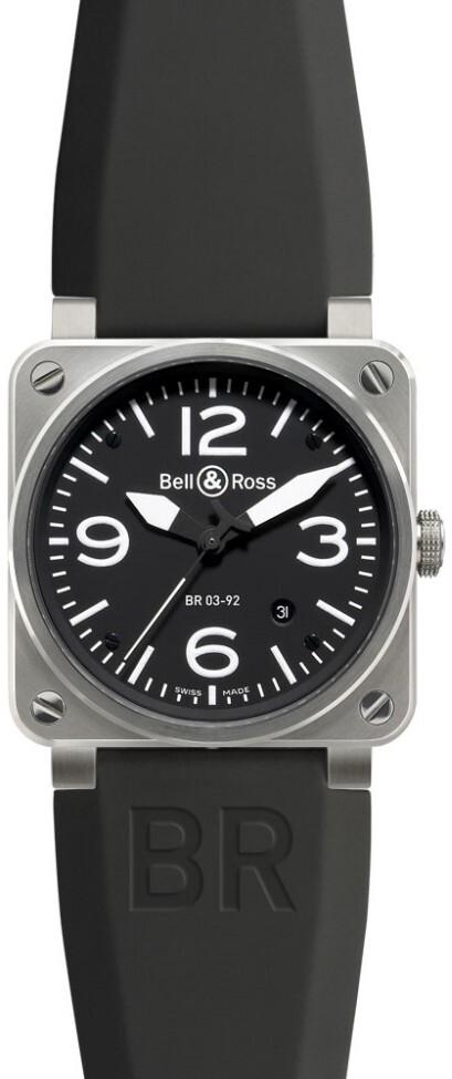 Bell & Ross BR 03-92 Herrklocka BR0392-BL-ST Svart/Gummi Ø42 mm - Bell & Ross