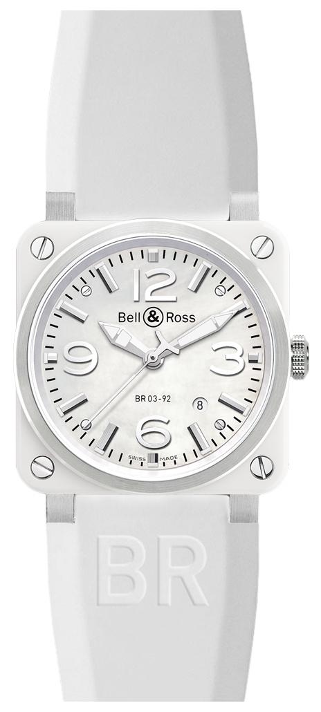 Bell & Ross BR 03-92 Herrklocka BR0392-WH-C-SRB Vit/Gummi - Bell & Ross
