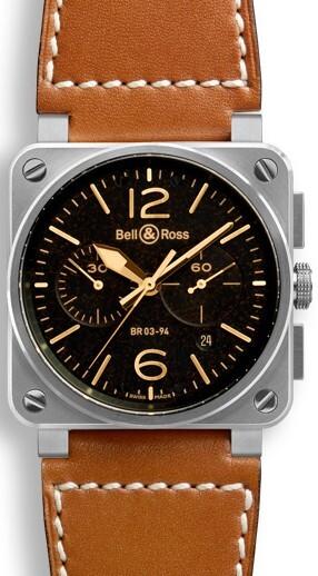 Bell & Ross BR 03-94 Herrklocka BR0394-ST-G-HE-SCA Svart/Läder Ø42 mm - Bell & Ross
