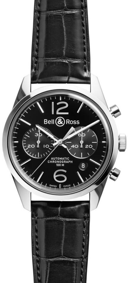 Bell & Ross BR 126 Herrklocka BRG126-BL-ST-SCR Svart/Läder Ø41 mm - Bell & Ross