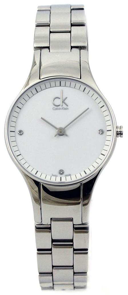 Calvin Klein Basic Damklocka K4323101 Vit/Stål Ø28 mm - Calvin Klein