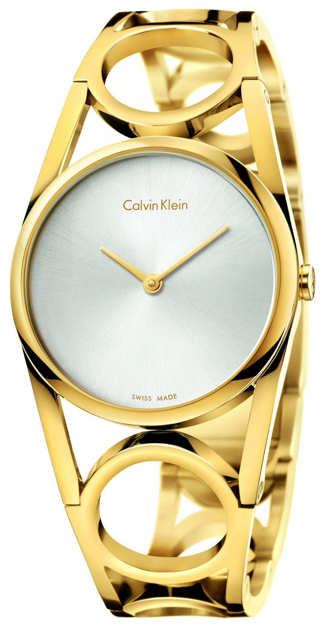 Calvin Klein Round Damklocka K5U2M546 Silverfärgad/Gulguldtonat stål - Calvin Klein