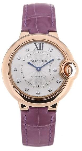 Cartier Ballon Blue Damklocka WE902063 Silverfärgad/Läder Ø33 mm - Cartier