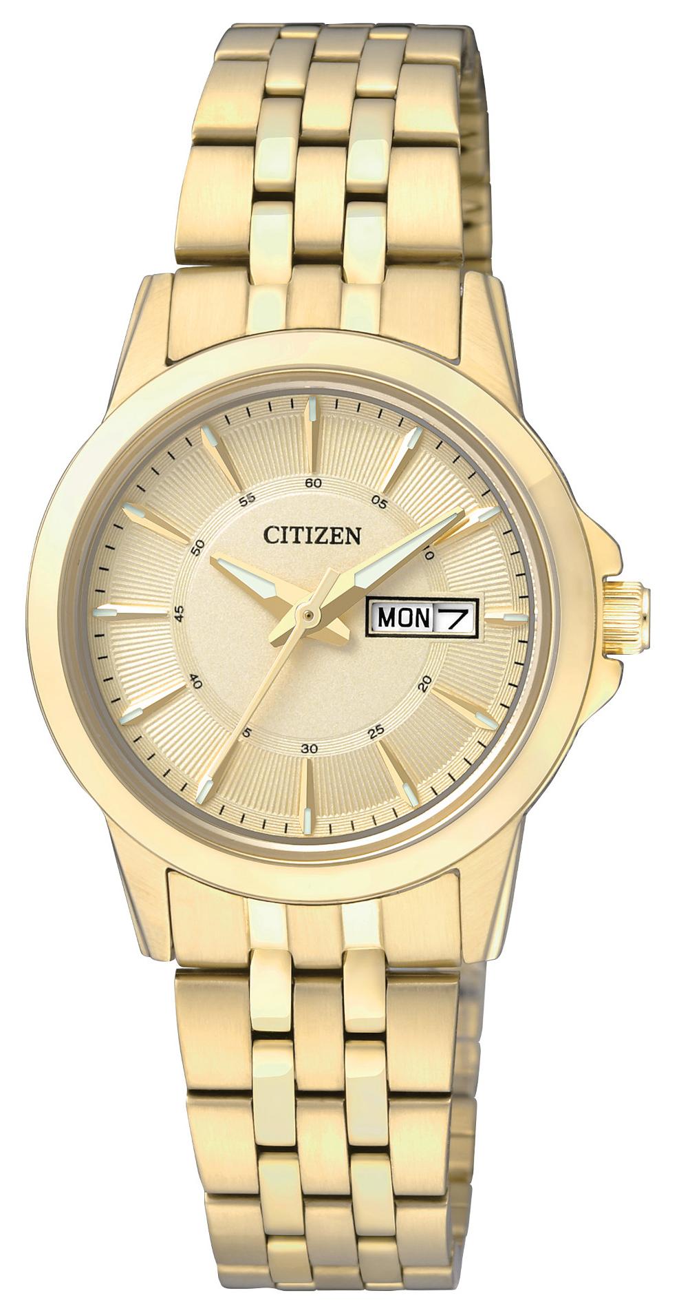 Citizen Dress Damklocka EQ0603-59P Gulguldstonad/Gulguldtonat stål Ø28 mm - Citizen