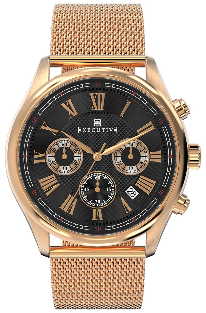 Executive Blazer Herrklocka EX-1005-25 Svart/Roséguldstonat stål Ø42 mm - Executive