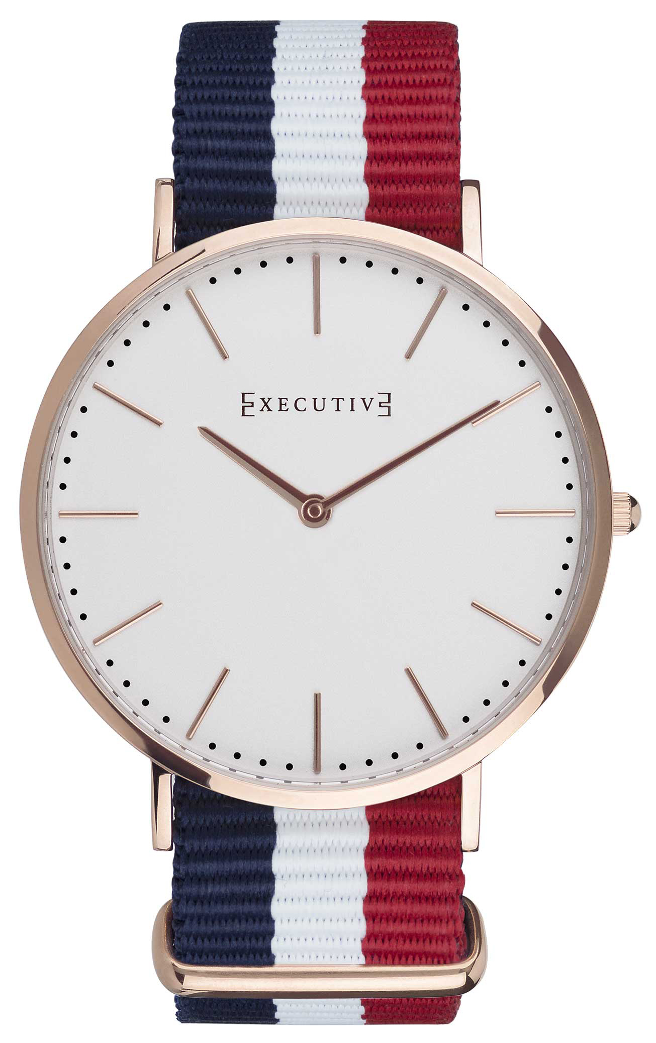 Executive 99999 Herrklocka EX-1017-02 Vit/Roséguldstonat stål Ø41 mm - Executive