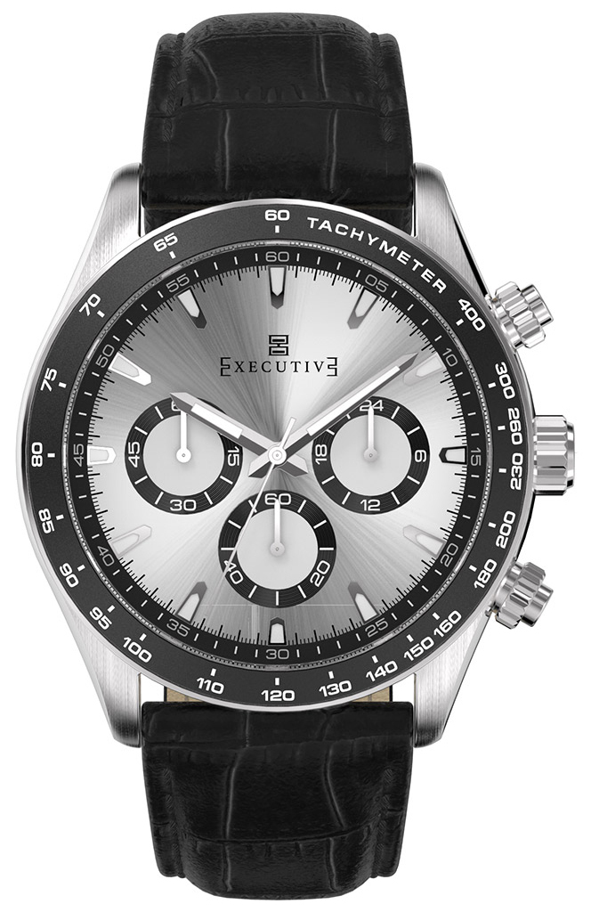 Executive 99999 Herrklocka EX-1018-02 Silverfärgad/Läder Ø42 mm - Executive