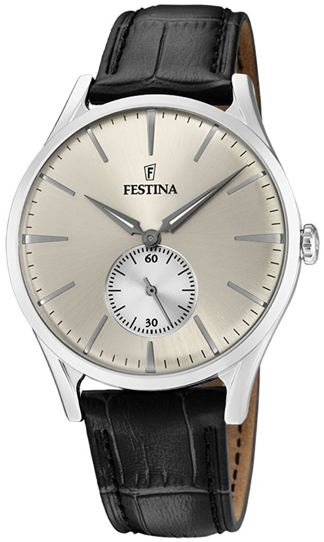 Festina Classic Herrklocka F16979-2 Silverfärgad/Läder Ø40 mm - Festina