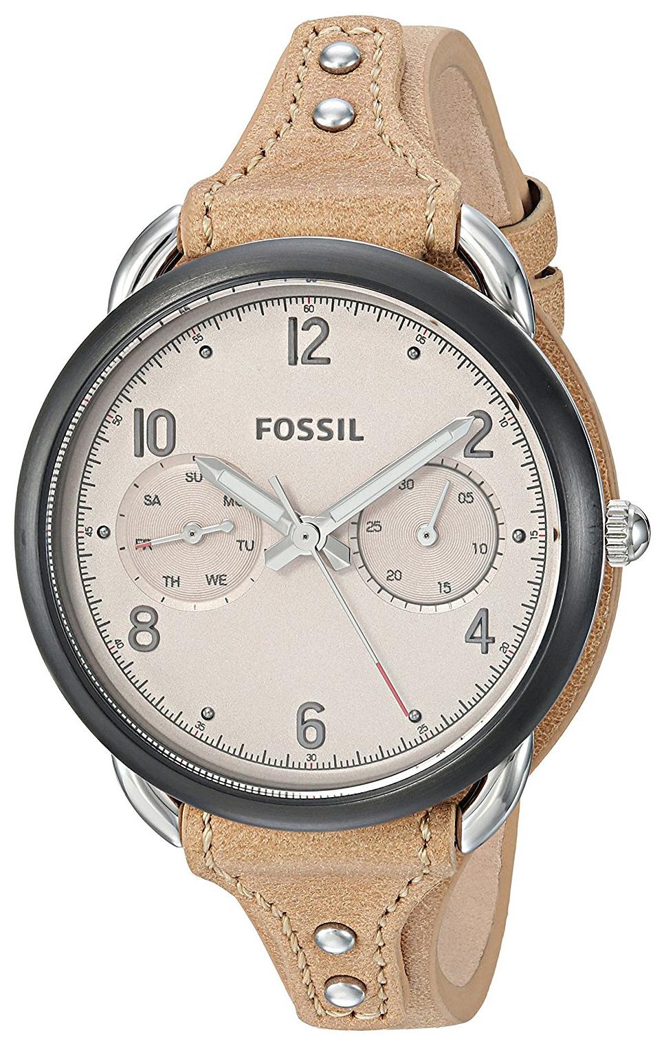 Fossil Tailor Damklocka ES4175 Beige/Läder Ø35 mm - Fossil