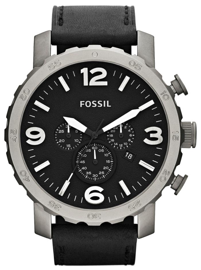 Fossil Nate Herrklocka TI1005 Svart/Läder Ø50 mm - Fossil