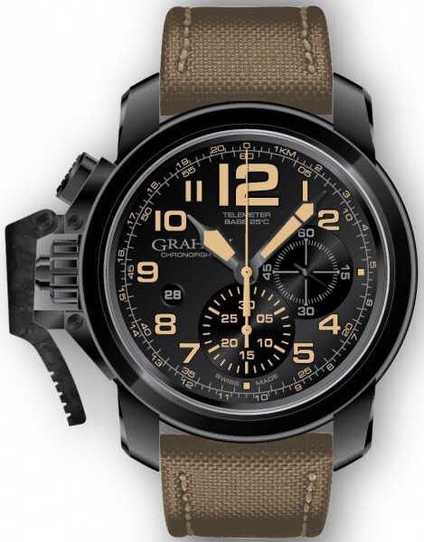 Graham Chronofighter Oversize Herrklocka 2CCAU.B02A Svart/Textil Ø47 mm - Graham