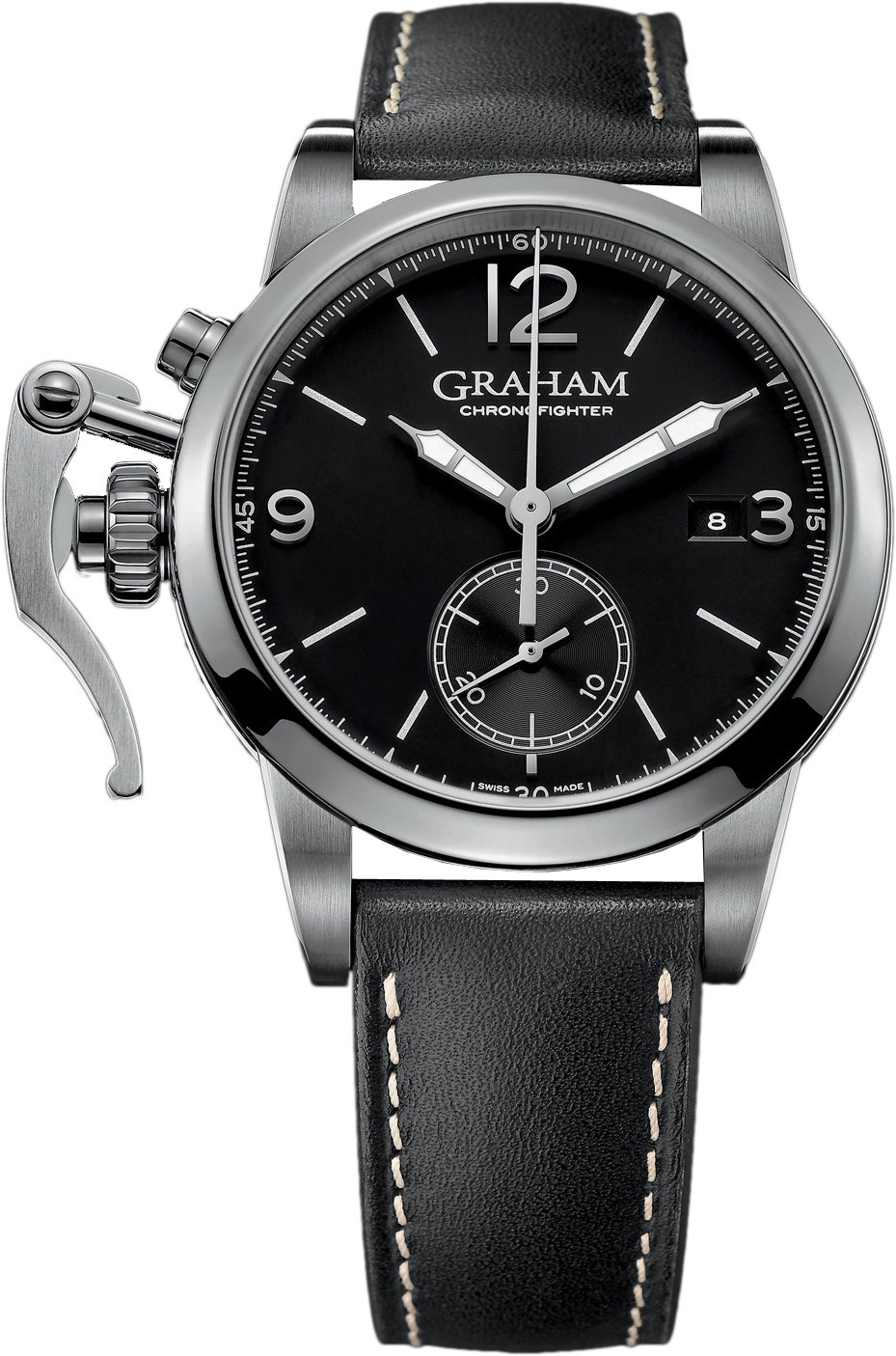 Graham Chronofighter Herrklocka 2CXAS.B02A Svart/Läder Ø42 mm - Graham