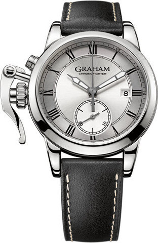 Graham Chronofighter Herrklocka 2CXAY.S05A Silverfärgad/Läder Ø42 mm - Graham