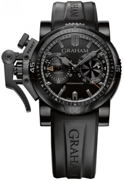 Graham Chronofighter Oversize Herrklocka 2OVEB.B40A Svart/Gummi Ø47 mm - Graham
