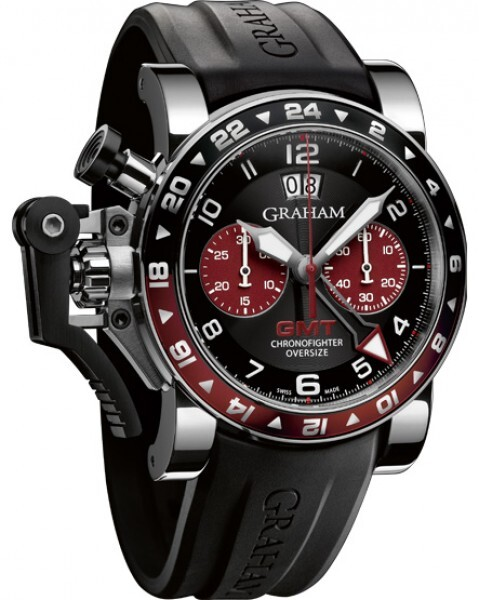 Graham Chronofighter Oversize Herrklocka 2OVGS.B20A Svart/Gummi Ø47 mm - Graham