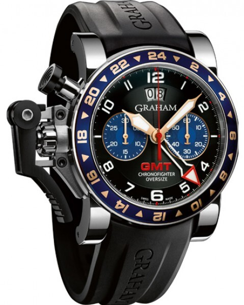 Graham Chronofighter Oversize Herrklocka 2OVGS.B26A Svart/Gummi Ø47 mm - Graham