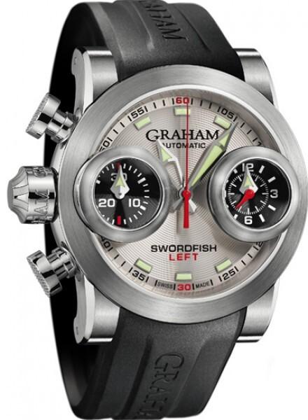 Graham Swordfish Booster Herrklocka 2SWBS.S09L Silverfärgad/Gummi Ø48 mm - Graham