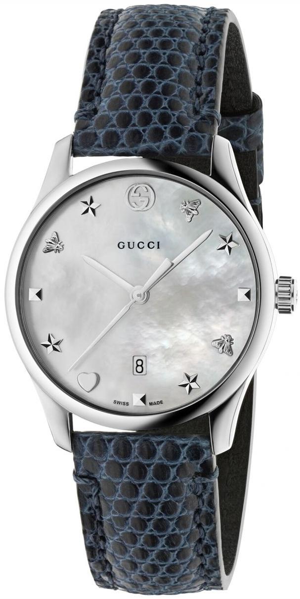 Gucci G-Timeless Damklocka YA126588 Vit/Läder Ø29 mm - Gucci