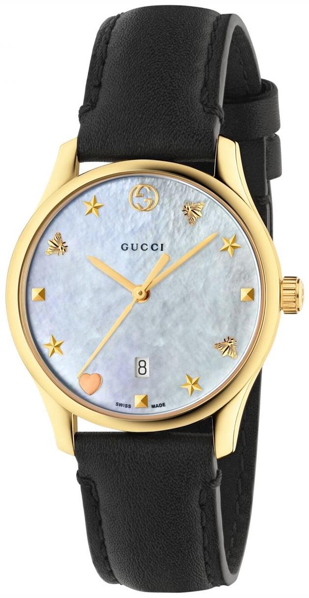 Gucci G-Timeless Damklocka YA126589 Vit/Läder Ø29 mm - Gucci