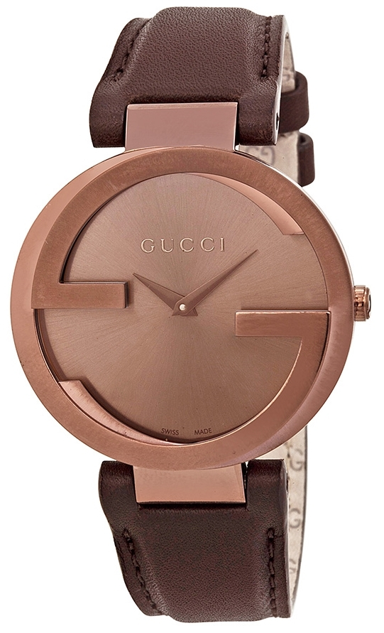 Gucci Interlocking Damklocka YA133309 Brun/Läder Ø37 mm - Gucci