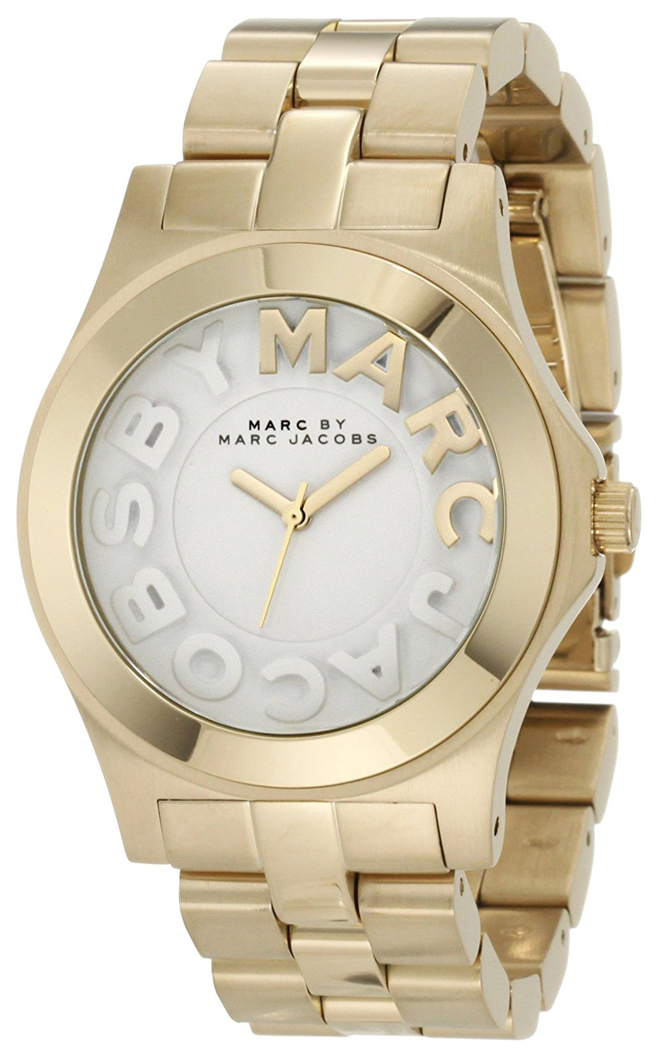 Marc by Marc Jacobs Rivera Damklocka MBM3134 Vit/Gulguldtonat stål Ø40 mm - Marc by Marc Jacobs