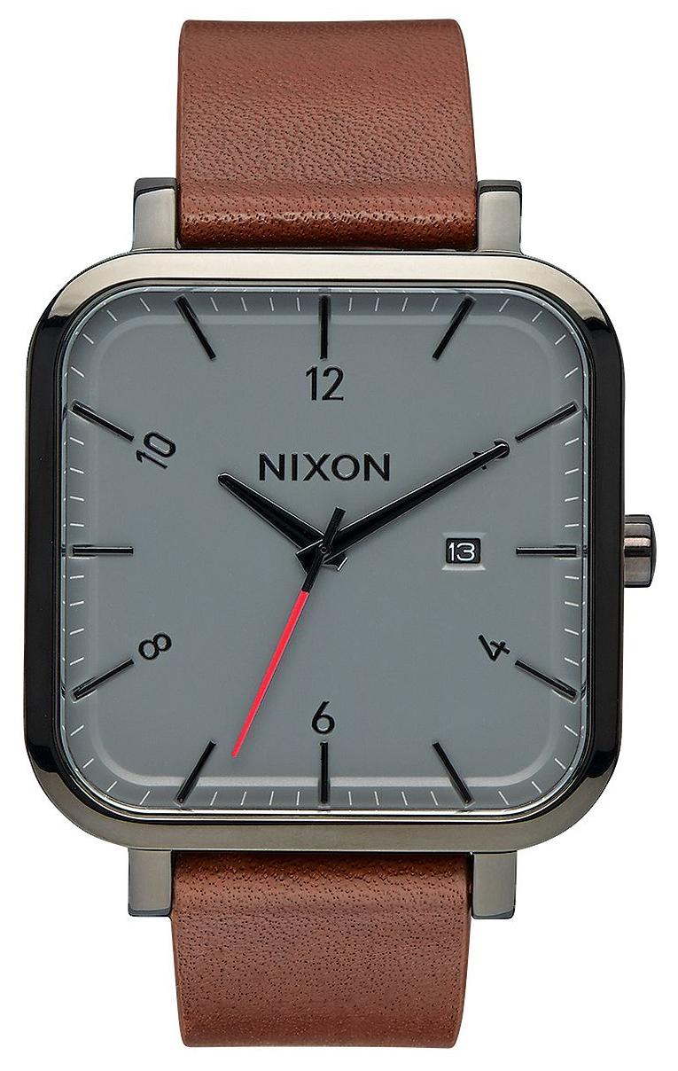 Nixon 99999 Herrklocka A939017-00 Grå/Läder - Nixon