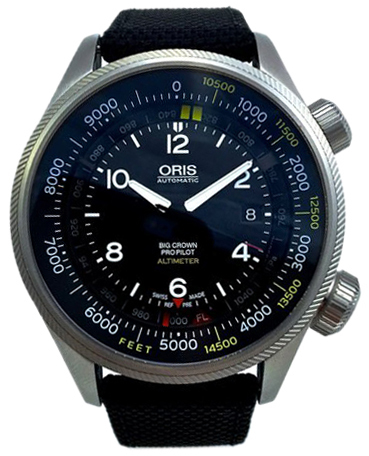 Oris Aviation Herrklocka 01 733 7705 4134-Set 5 23 15FC Svart/Textil Ø47 - Oris