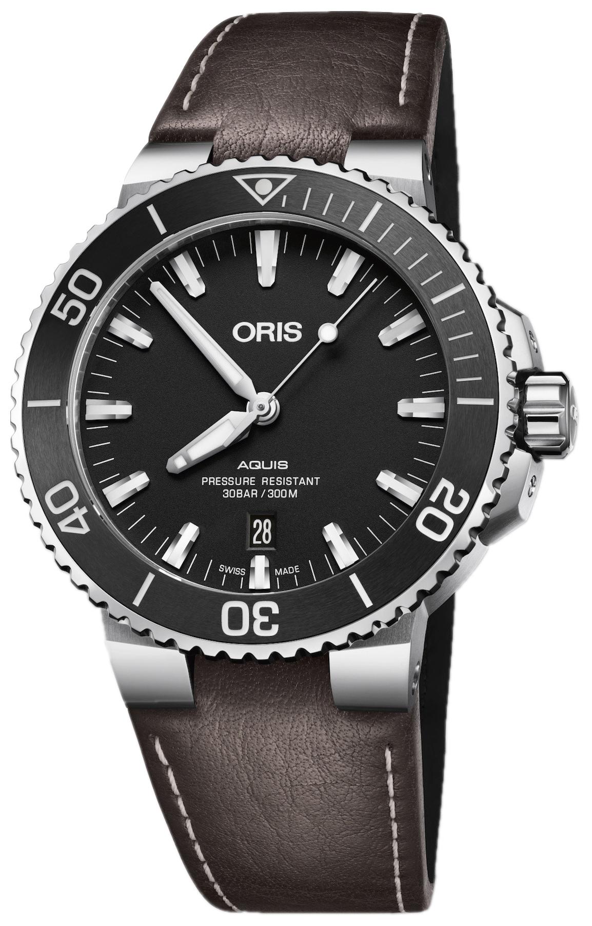 Oris Diving Herrklocka 01 733 7730 4154-07 5 24 10EB Svart/Läder Ø43.5 mm - Oris
