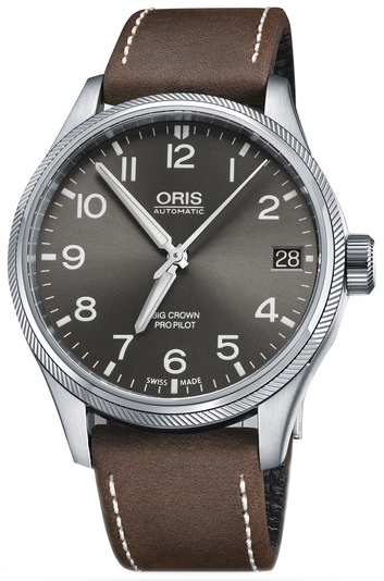 Oris Aviation Herrklocka 01 751 7697 4063-07 5 20 05FC Grå/Läder Ø41 mm - Oris