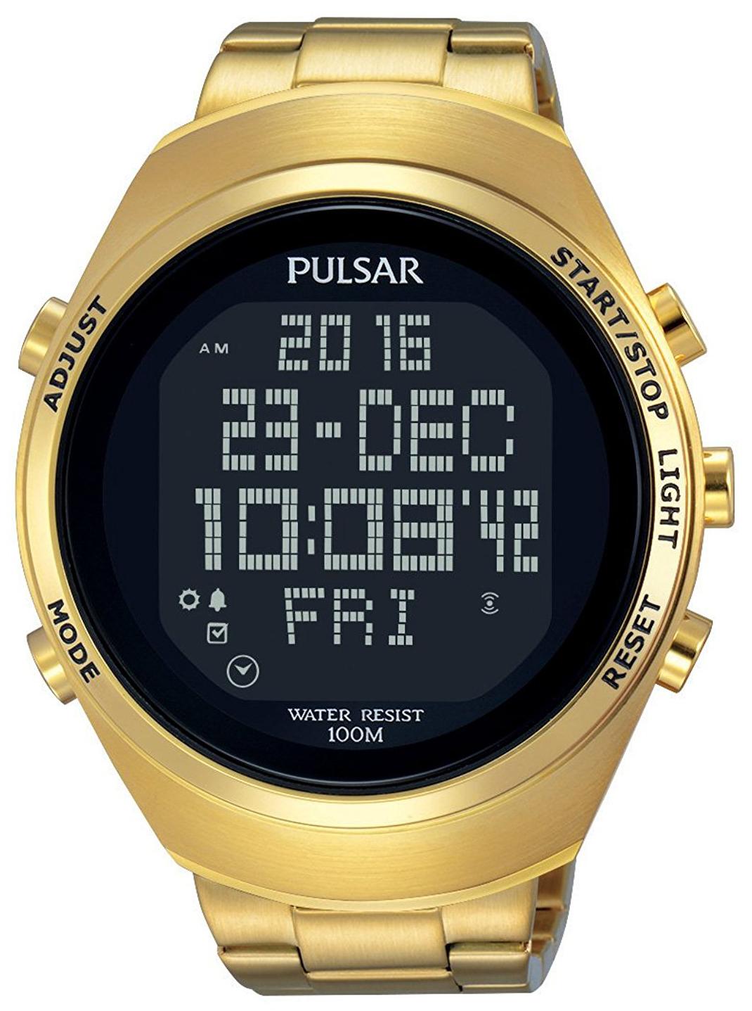 Pulsar Pulsar X Herrklocka PQ2056X1 LCD/Gulguldtonat stål Ø46 mm - Pulsar