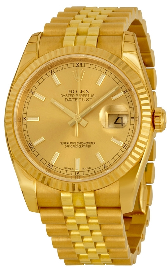Rolex Datejust 36 Herrklocka 116238-0059 Champagnefärgad/18 karat gult - Rolex