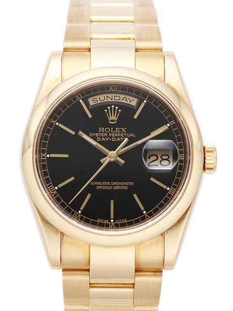 Rolex Day-Date 36 Herrklocka 118208-0095 Svart/18 karat gult guld Ø36 mm - Rolex
