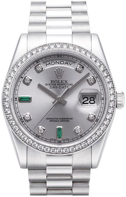 Rolex Day-Date 36 Herrklocka 118346-0084 Silverfärgad/Platina Ø36 mm - Rolex