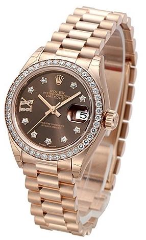 Rolex Lady-Datejust 28 Damklocka 279135RBR-0001 Brun/18 karat roséguld - Rolex