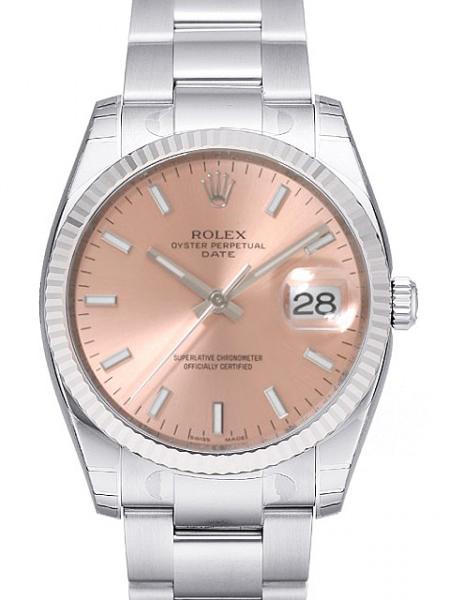 Rolex Oyster Perpetual Date Herrklocka 115234-0006 Rosa/Stål Ø34 mm - Rolex