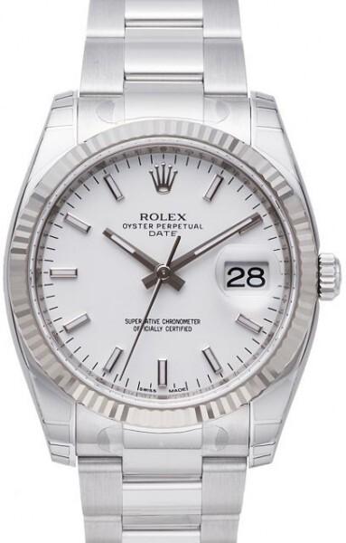 Rolex Oyster Perpetual Date Herrklocka 115234-0003 Vit/Stål Ø34 mm - Rolex
